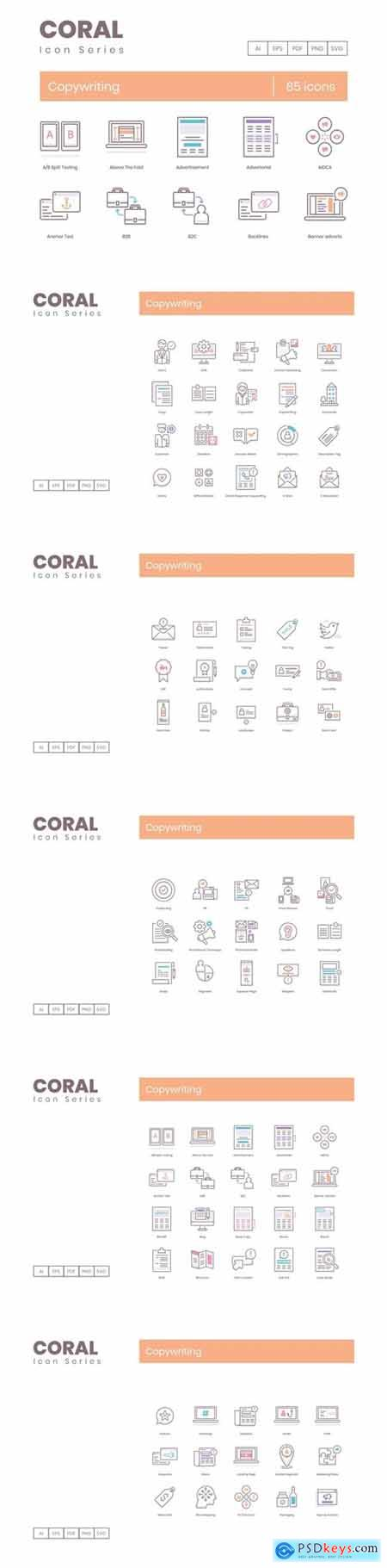 85 Copywriting Icons Coral Series (smooth)