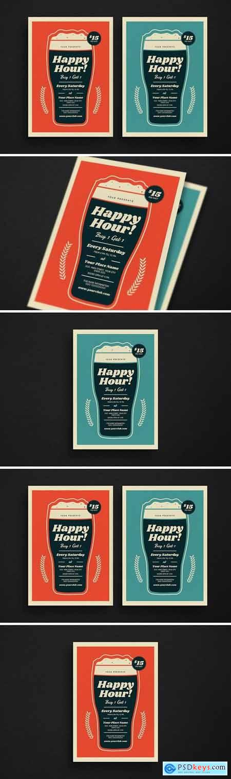 Retro Beer Happy Hour Event Flyer