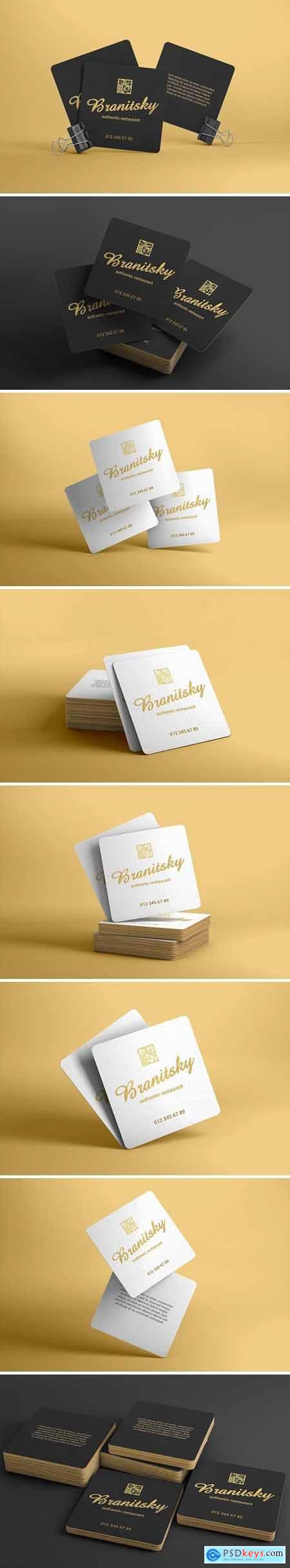 Square Business Card With Rounded Corners Mockups