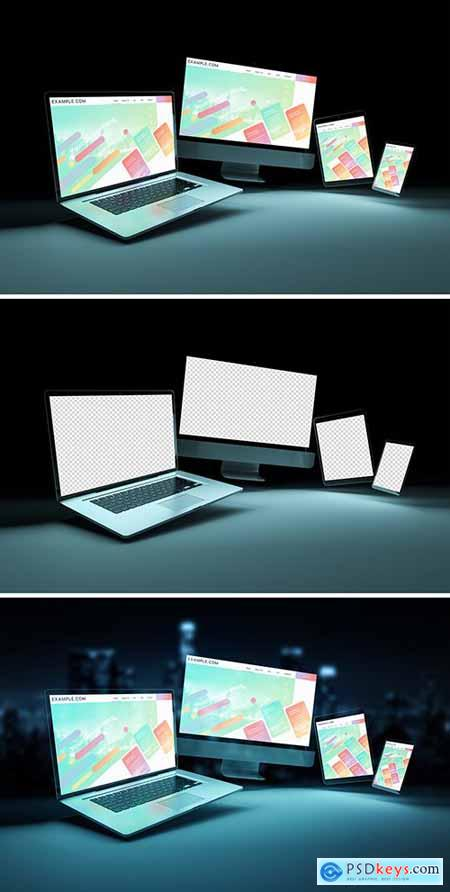 4 Screen Devices on Dark Background Mockup 253165962