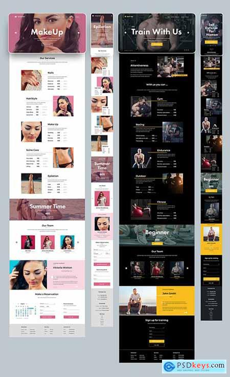 Desktop and Mobile Website Layout for a Gym and Salon 277952773