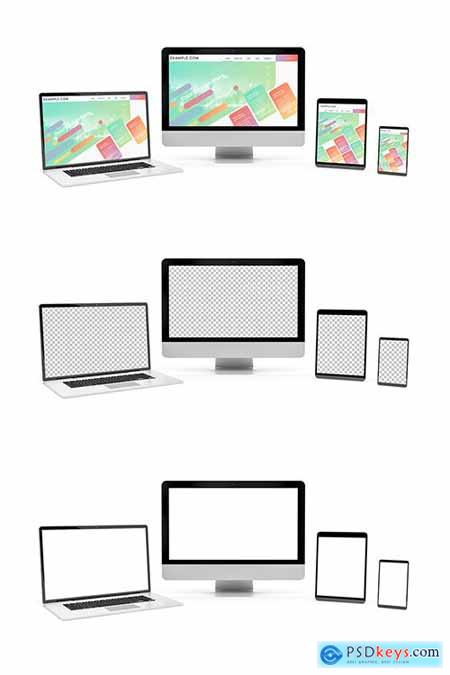 4 Screen Devices on White Background Mockup 253165915