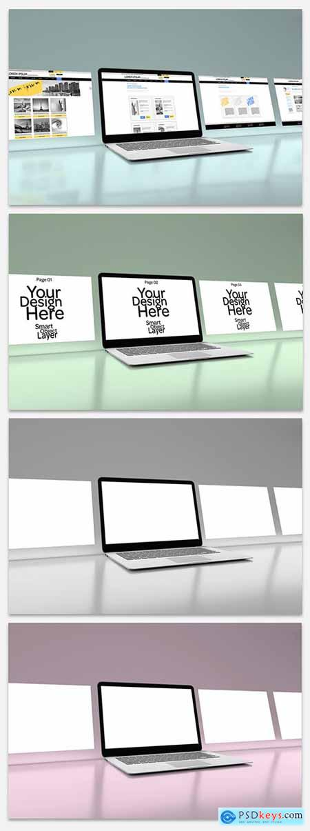4 Website Pages on Laptop Mockup 264011837