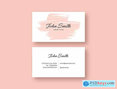 Business Card Layout with Pink Brush Stroke Illustration 253595816