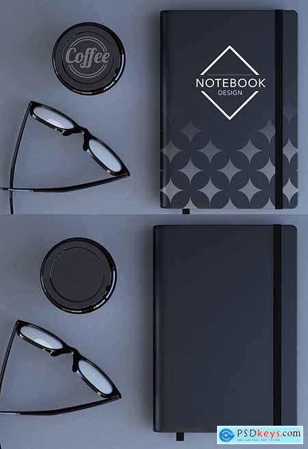 Top View Desk with a Notebook and Coffee Cup Mockup 256664569