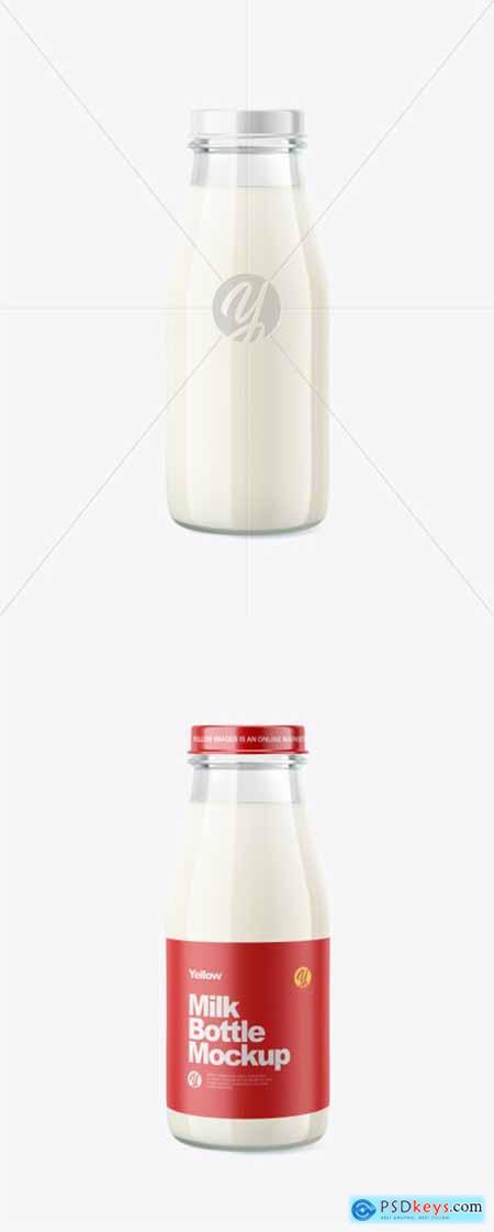 Glass Milk Bottle Mockup 39583