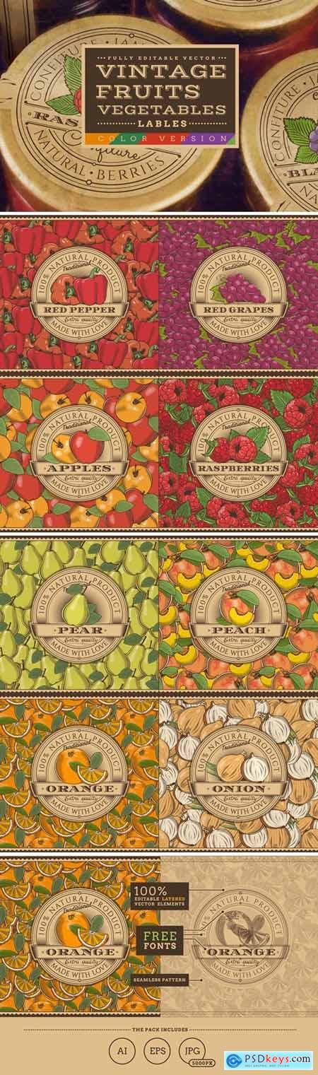 Vintage Fruits & Vegetables Labels