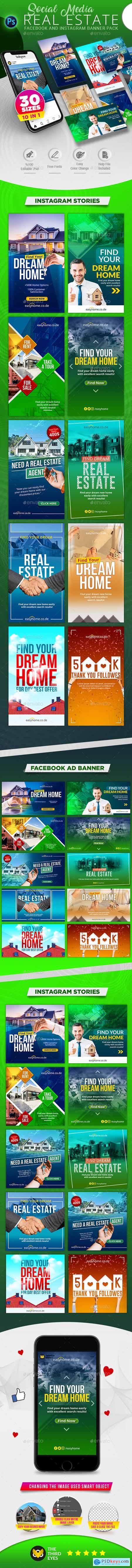 Real Estate Social Media Banner Pack 24070155