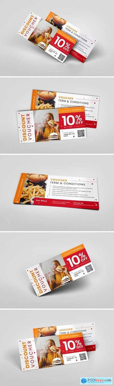 Fastfood Restaurant AI and PSD Gift Voucher