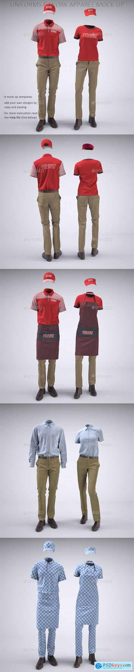 Food Service Uniforms and Retail Uniforms Mock-Up 22094416