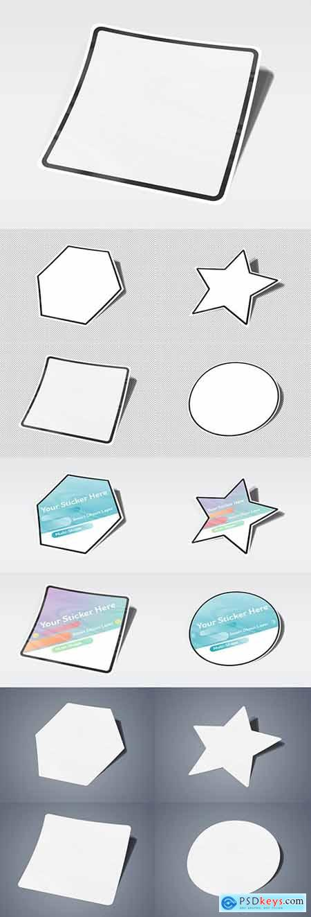 Isolated Multi-Shaped Sticker Mockup 249391501 » Free Download