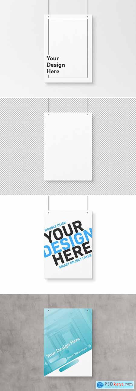 Isolated A4 Hanging Poster Mockup 247832155