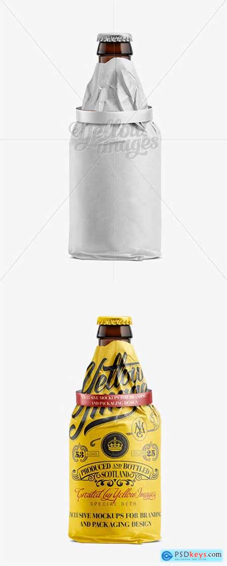 33cl Steinie Beer Bottle Wrapped in White Paper with Ribbon Mockup 11240