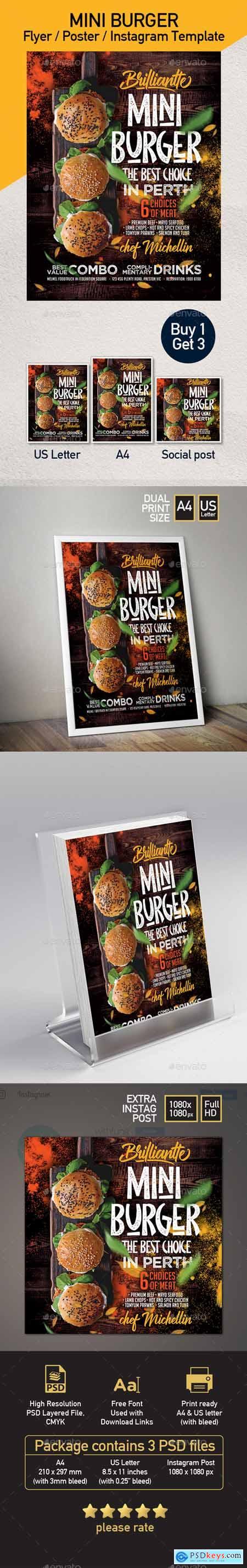 Burger Food Truck or Restaurant Menu Flyer - Set of 3 Templates 24088044
