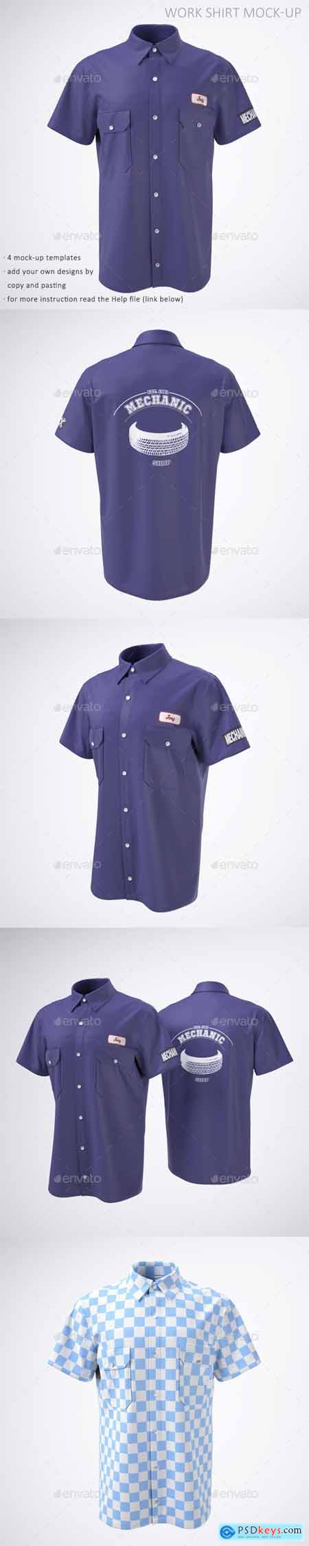Work Shirt with Short Sleeves Mock-Up 21786901