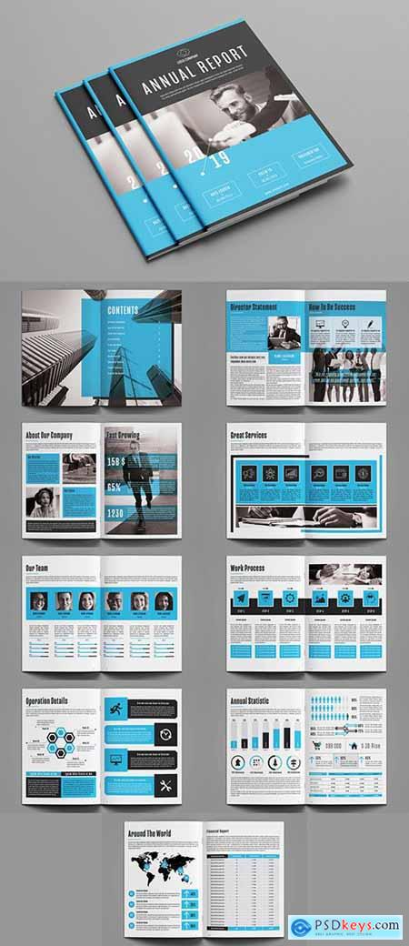 Annual Report Layout with Blue Accents 248958157