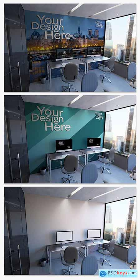 Office Wall and Desktop Computers Mockup 249198413