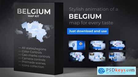 VideoHive Belgium Map - Kingdom of Belgium Map Kit