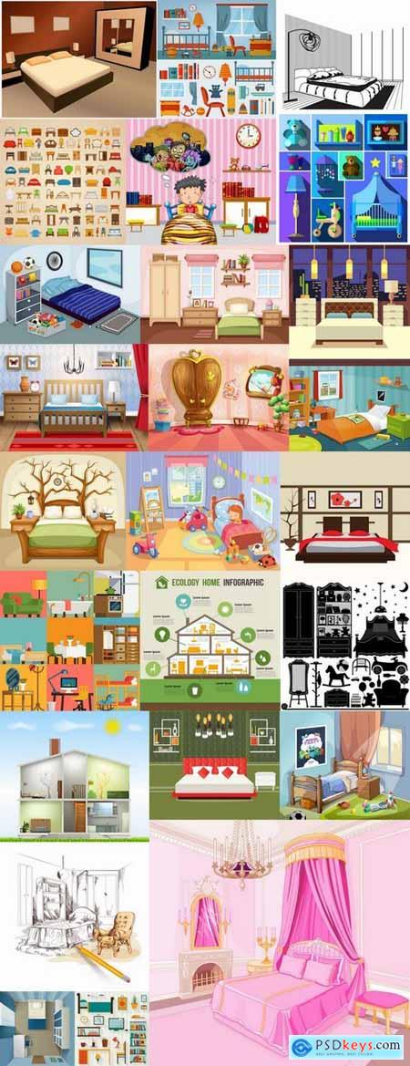 Interior bedroom bed table chair chair icon baby illustration 25 EPS