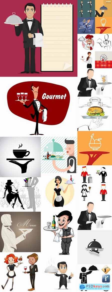 Vector images waiters 25 Eps