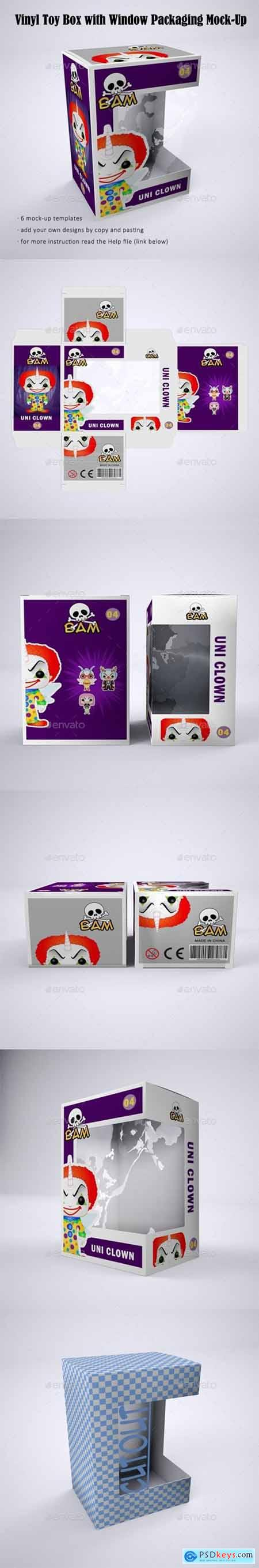 Vinyl Toy Box with Die Cut Window Packaging Mock-Up 22379769