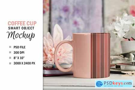 Pretty Coffee Cup Mug Mockup PSD