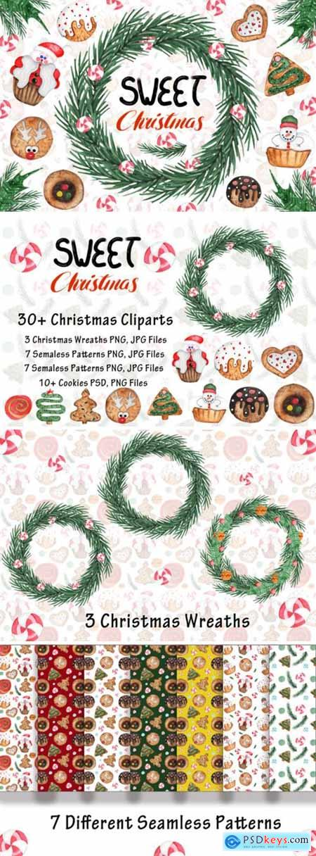 Watercolor Sweet Christmas Cookies 1667164