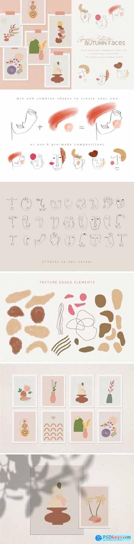 Autumn Faces, creative graphic collection