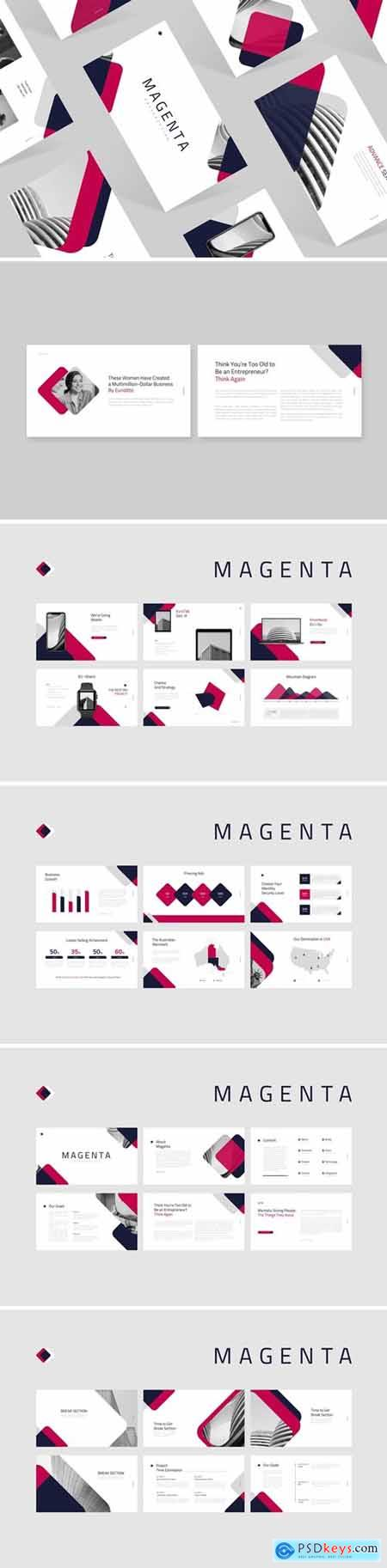 Magenta Powerpoint, Keynote and Google Slides Templates