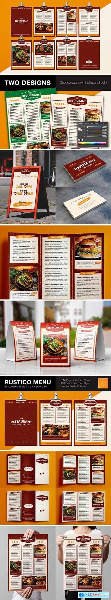 Rustic Food menu Illustrator Template