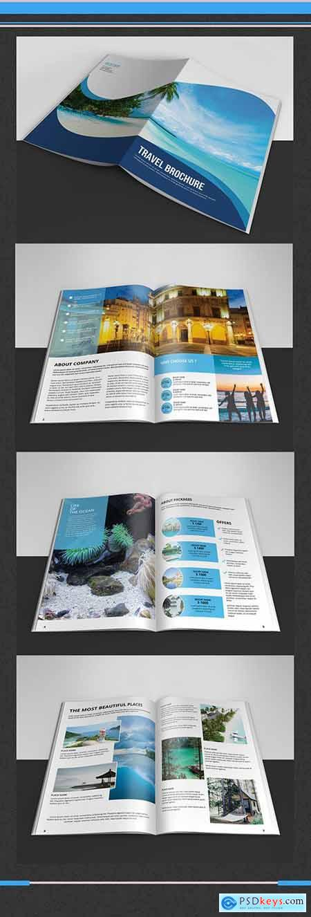 Business Brochure Layout with Blue Accents 243571852
