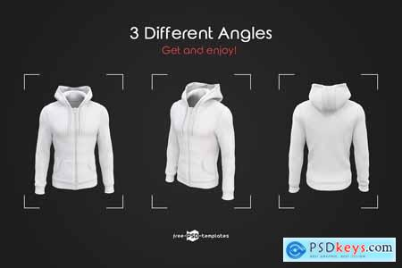 Mens Full-Zip Hoodie MockUp Set 3838282