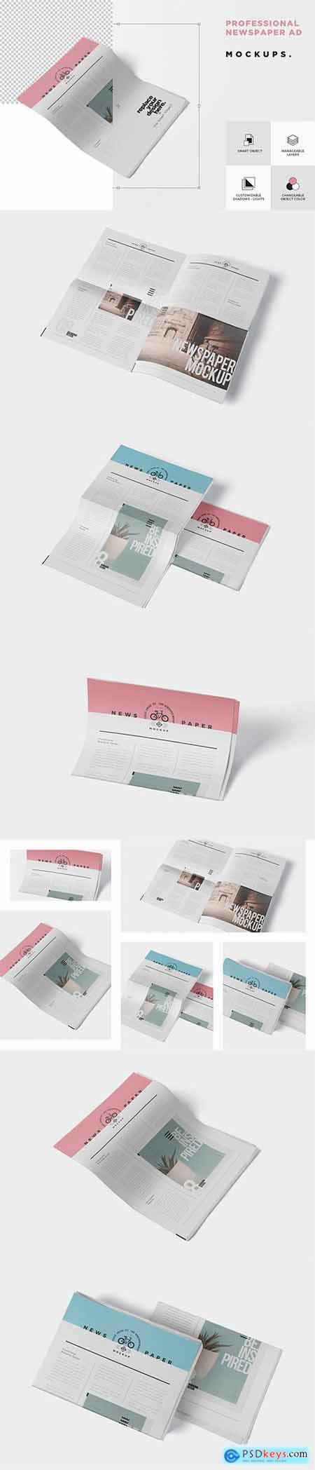 Professional Newspaper Ad PSD Mockups