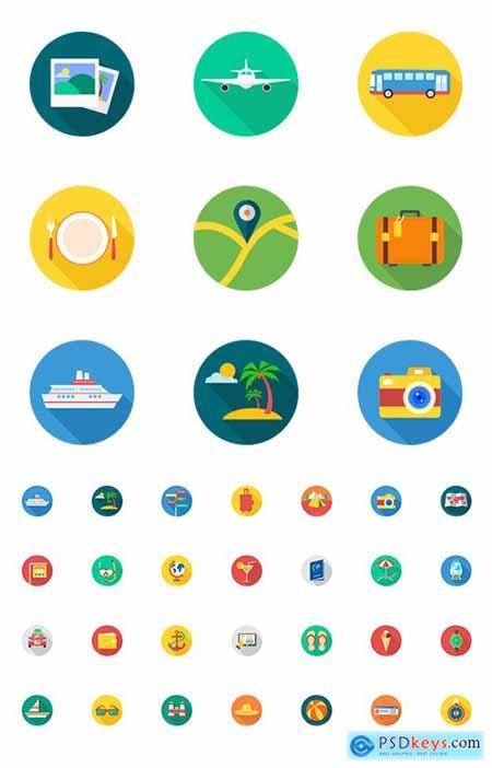 40 Travel Tourism & Holiday Icons Flat