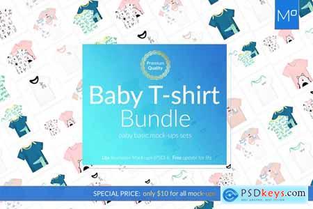 Baby T-shirt Bundle 18x Mock-ups 3902177