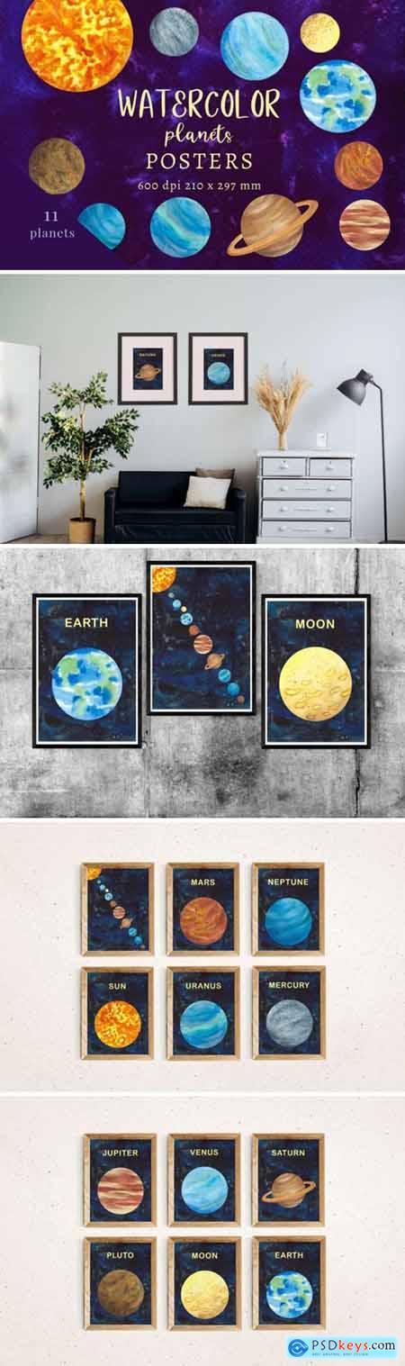 Watercolour decor, Watercolour wall art, Planets prints, Planets posters