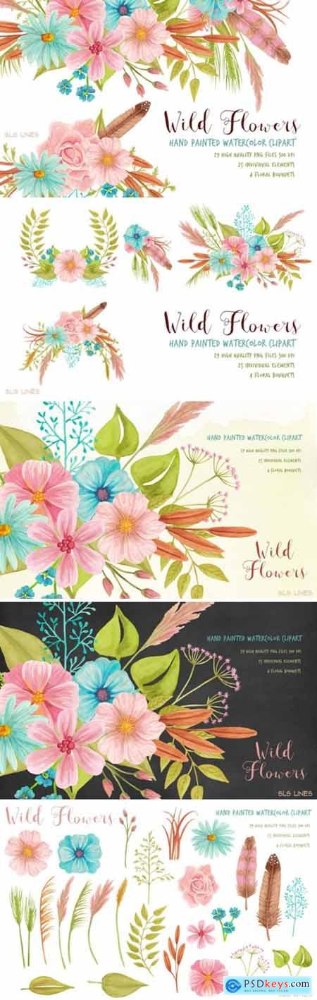 Wild Meadow Flowers Watercolor Clipart Set
