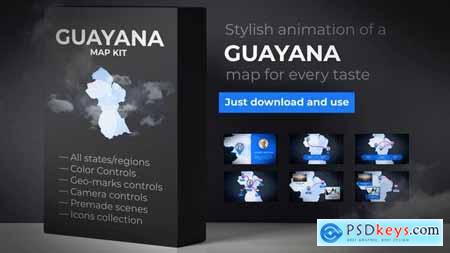 Videohive Guyana Animated Map Co-operative Republic of Guyana Map Kit