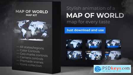 Videohive Map of World with Countries Animated Map