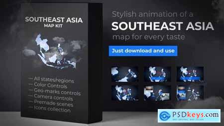 Videohive Southeast Asia Animated Map Southeastern Asia Map Kit