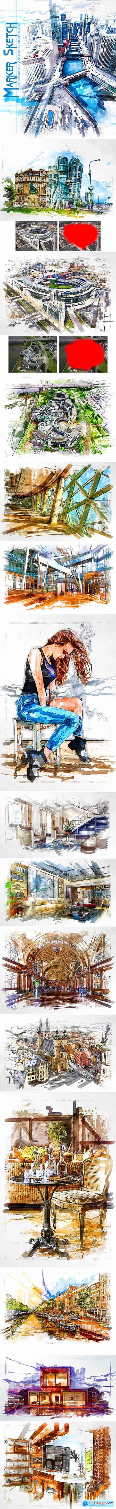 Marker Sketch Photoshop Action 24303447