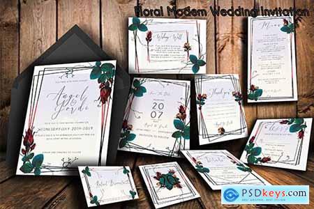Floral Modern Wedding Invitation Suite