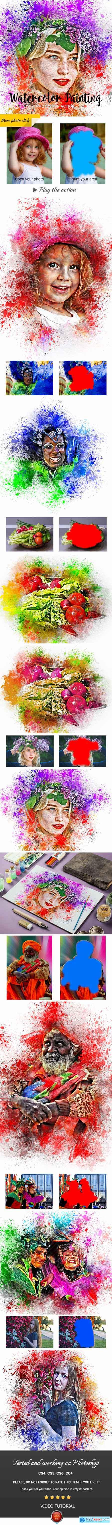 Watercolor Painting Photoshop Action 24202737