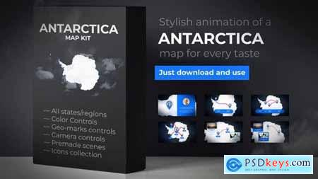 Videohive Map of Antarctica with Territories Antarctica Map Kit 24363085