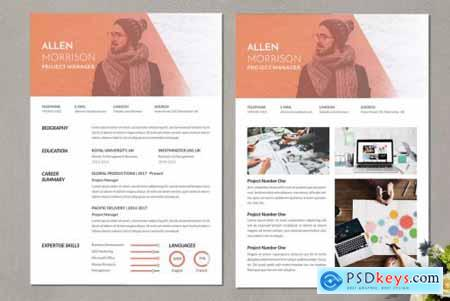 Project Manager Creative CV Resume Vol. 63