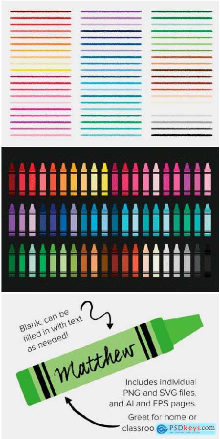 Crayon & Border Clip Art Set 1697894