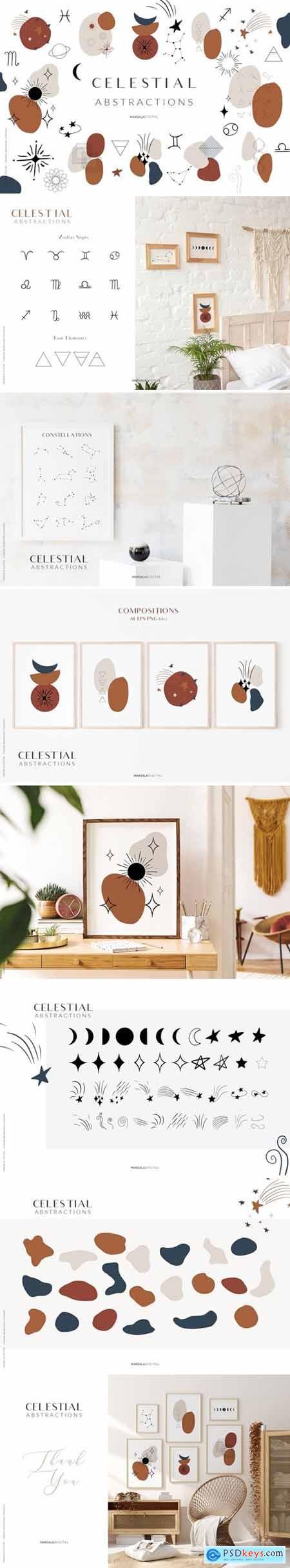 Celestial Abstract Set, Zodiac Stars 3956039