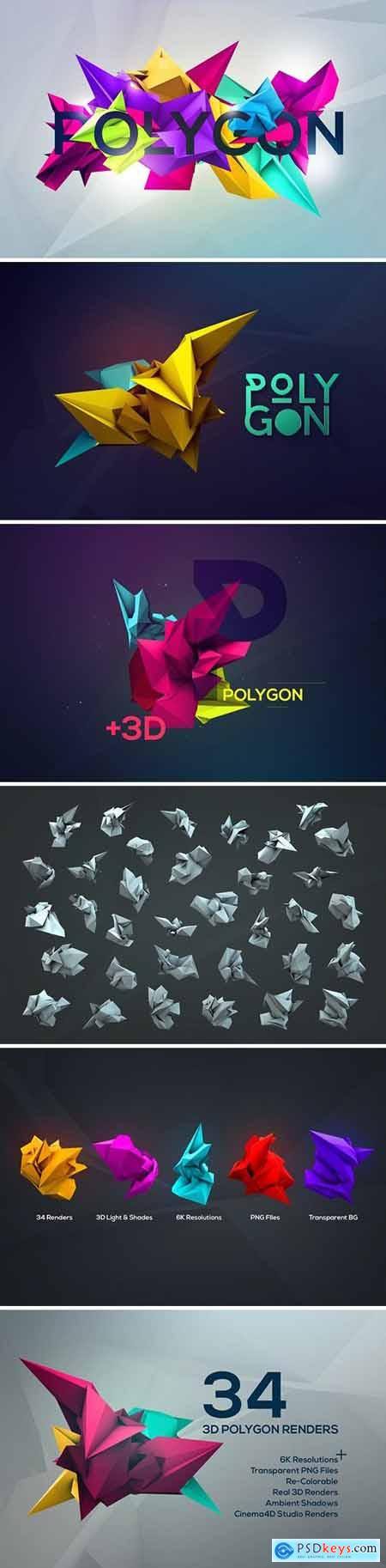 3D Geometric Polygon Renders 512075