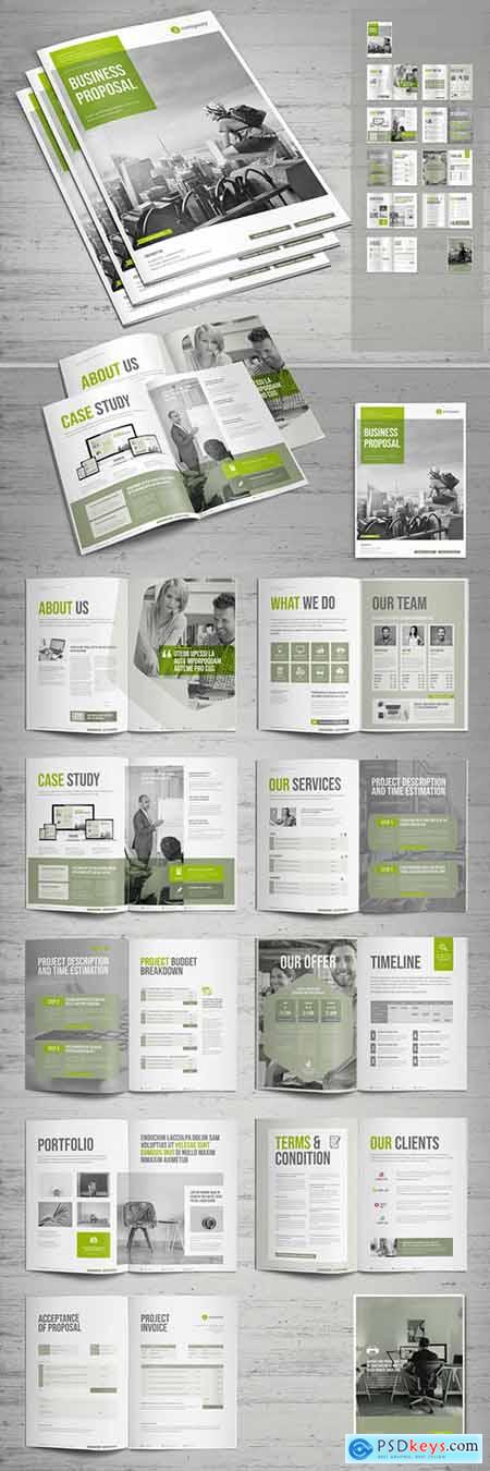 Business Proposal Layout with Green Accents 238574791