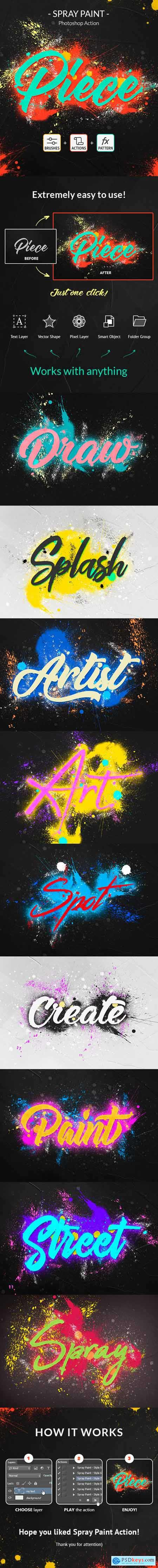 Spray Paint Photoshop Action 24380797